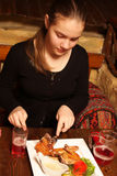 Teen in a georgian restaurant Stock Image
