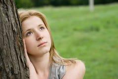 Teen girl. Beautiful teen blond girl at the meadow Royalty Free Stock Photos