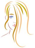Teen girl. Isolated brush stroke illustration Royalty Free Stock Photos