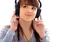 Teen girl. Brown pretty women listening to music Royalty Free Stock Image
