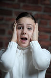 Teen girl afraid Royalty Free Stock Photo