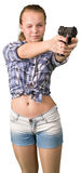 Teen girl aiming from the gun Royalty Free Stock Photo
