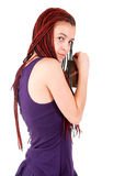 Teen girl with alcohol. White background Stock Images