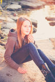 Teen girl alone Royalty Free Stock Photo