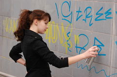 Teen Girl And Graffiti Stock Images