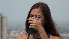 Teen Girl Applying Makeup stock video footage