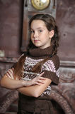 Teen girl with arms crossed standing Royalty Free Stock Photography