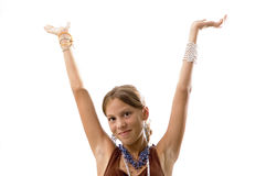 Teen girl with arms up Stock Photos