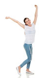 Teen girl arms up Royalty Free Stock Photo