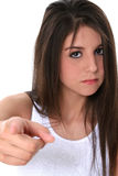 Teen Girl With Attittude Pointing Towards Camera Stock Image