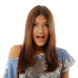 Teen girl attractive surprised make faces isolated on white Royalty Free Stock Images