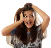 Teen girl attractive surprised make faces isolated on white Stock Photography