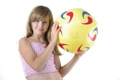 Teen girl with a ball Royalty Free Stock Images