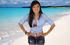 Teen Girl At Beach. Teen girl at a crystal clear beach Stock Photo