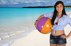 Teen Girl At Beach. Teen girl at a crystal clear beach Royalty Free Stock Photography