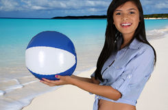 Teen Girl At Beach. Teen girl at a crystal clear beach Stock Photography