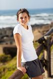 Teen girl beach. Pretty teen girl in sportswear at beach in the morning Stock Images