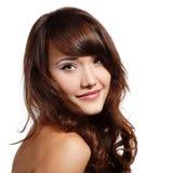 Teen girl beautiful cheerful enjoying isolated on white Royalty Free Stock Photography