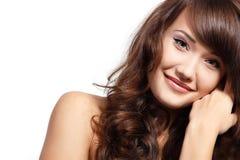 Teen girl beautiful cheerful enjoying isolated on white Royalty Free Stock Photos