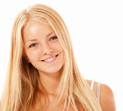 Teen girl beautiful cheerful enjoying isolated on white Stock Image