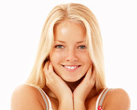 Teen girl beautiful cheerful enjoying Royalty Free Stock Image