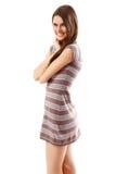 Teen girl beautiful cheerful isolated on white Stock Image
