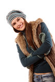 Teen girl beautiful cheerful winter Christmas Stock Photo