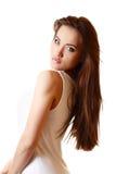 Teen girl beautiful portrait with long brown hair Stock Photo