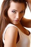Teen girl beautiful portrait with long brown hair and t-shirt Stock Image