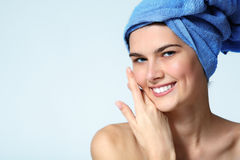 Teen girl beautiful after washing cheerful enjoying beauty Royalty Free Stock Photos