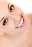 Teen girl beauty face happy smiling Stock Photos