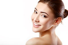 Teen girl beauty face happy smiling and looking at camera Stock Photo