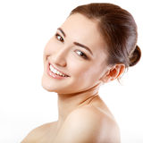Teen girl beauty face happy smiling and looking at camera Stock Photography