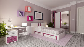 Teen girl bedroom design idea. Teen girl bedroom interior design idea 3d rendering Royalty Free Stock Photos