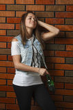 Teen girl with beer Stock Photography
