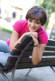 Teen girl on the bench Royalty Free Stock Image