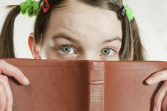 Teen girl with the Bible Stock Photo