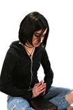 Teen girl with Bible Praying Stock Photo
