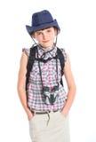 Teen girl with binocular Royalty Free Stock Images