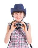 Teen girl with binocular Stock Photography