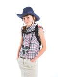 Teen girl with binocular Royalty Free Stock Photos