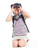 Teen girl with binocular Stock Photo