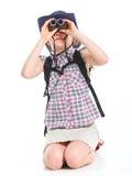 Teen girl with binocular Stock Photo