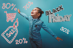 Teen girl Black Friday discount sale shopping her Stock Image