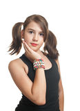 Teen girl in black top with pigtails smiling Royalty Free Stock Images