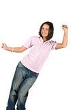 Teen girl in blank t-shirt and jeans. Happy teen girl wearing a pink blank t-shirt and jeans standing with hands up isolated on white background,check also stock photos