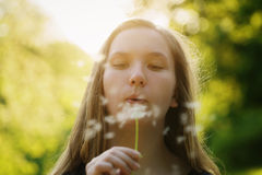 Teen girl blowing dandelion to the camera Stock Photos