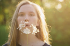 Teen girl blowing dandelion to the camera Stock Image