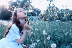 Teen girl blowing seeds from a flower dandelion in spring park Royalty Free Stock Photo