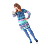 Teen girl in blue dress. And blue stockings isolated Stock Image